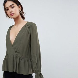 ASOS Olive Blouse With Tie Up Sleeves